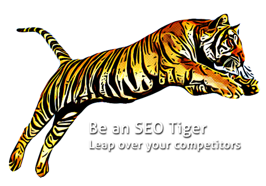 tiger leaping over seo text