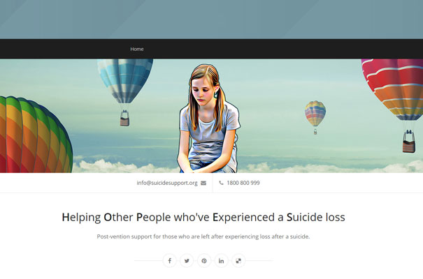 suicide support website mockup