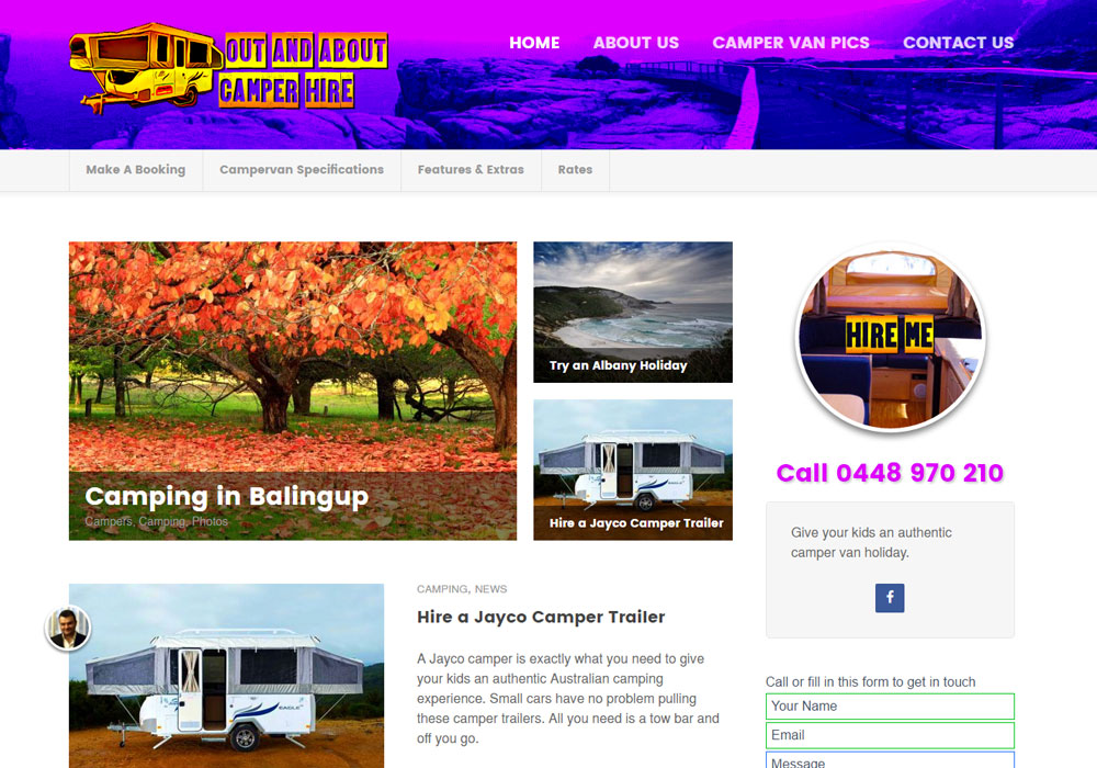 Out and About Camper Van Hire website thumbnail