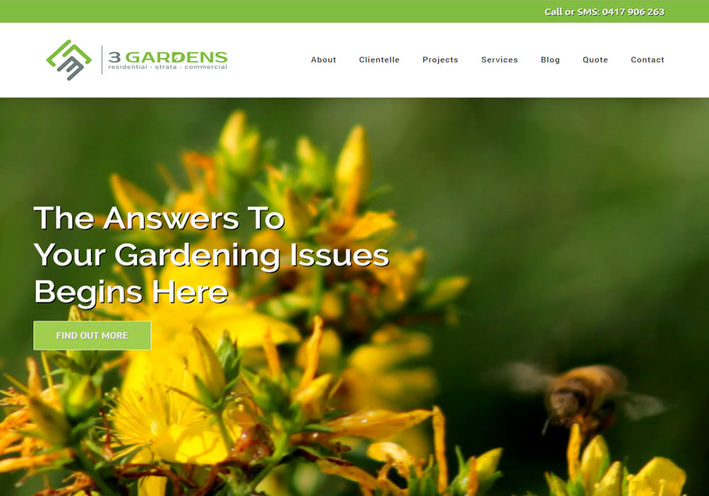 3 Gardens web design and development