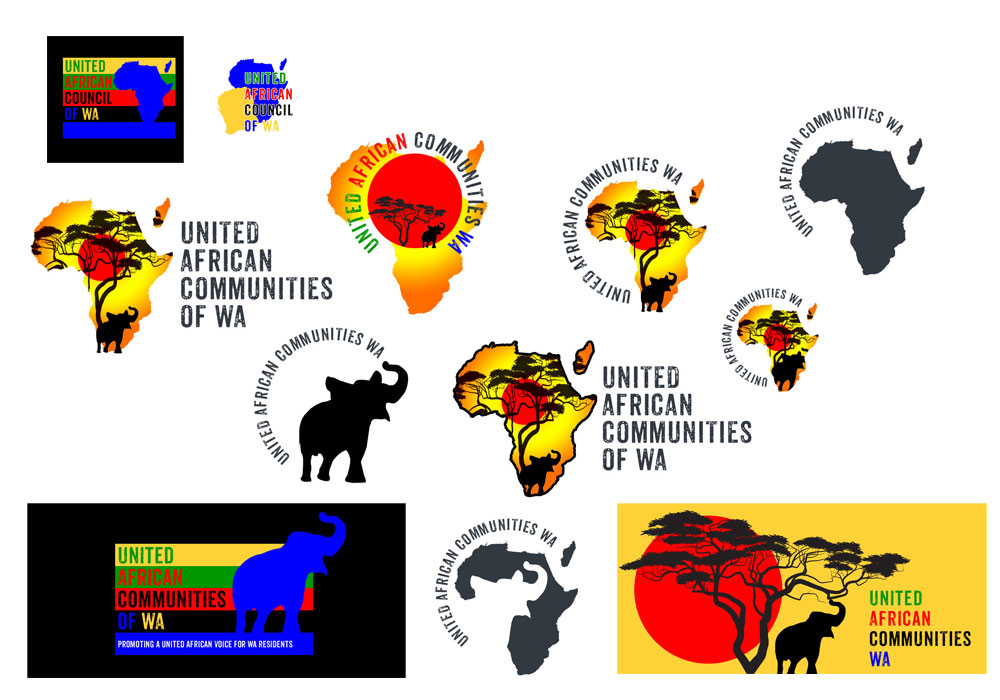 logo mockups for United African Council of Western Australia