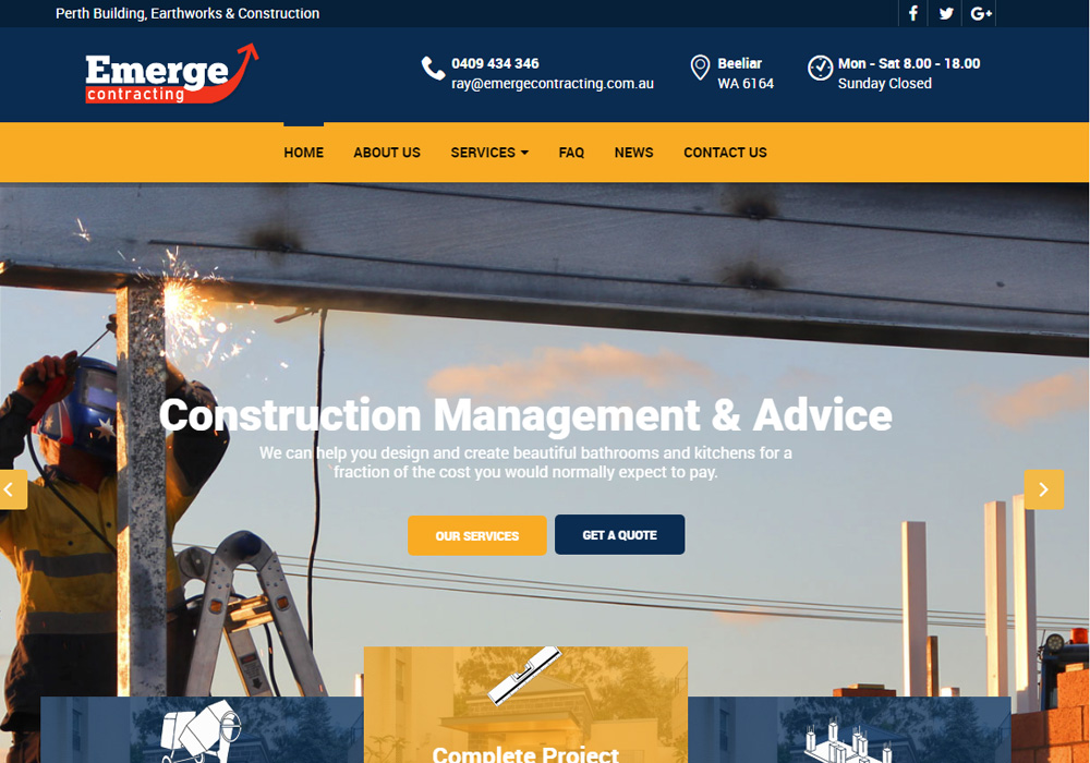 Emerge Contracting Perth-based Builder - Website, Content & SEO