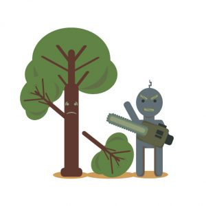 ai robot chopping down tree