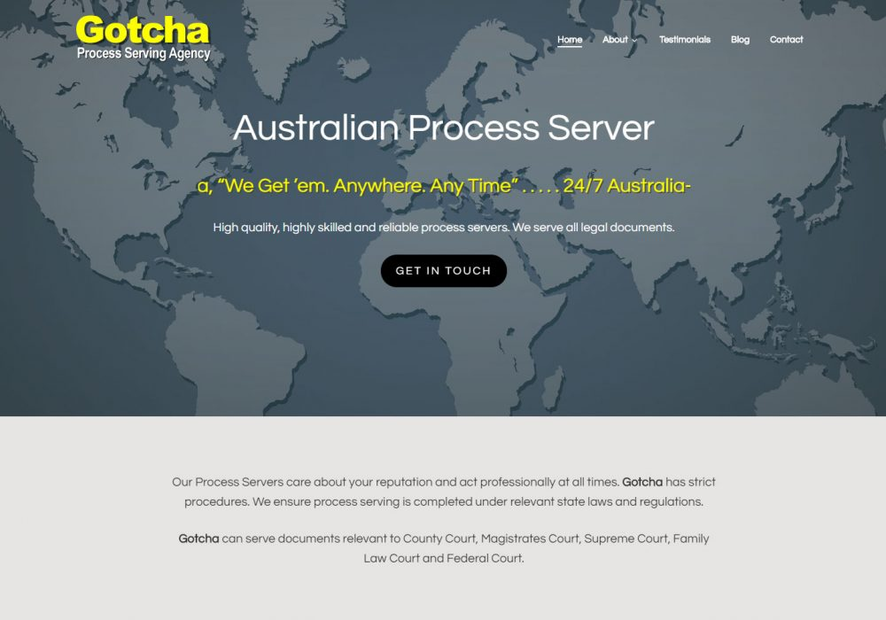 websit design for gotcha process serving agency