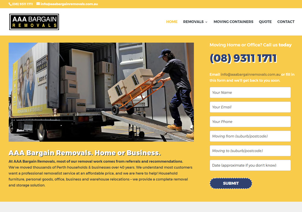 AAA bargain removals website design and development