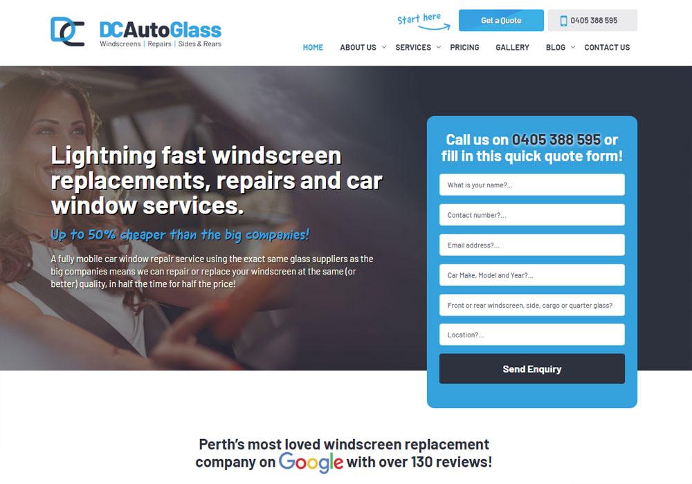 d and c autoglass website front front end development